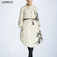 UGREVZ Cotton Coat Down Jacket For Women Fashion Designer Winter With White Duck Down Parka Long Printed Jacket Coat With Pocket