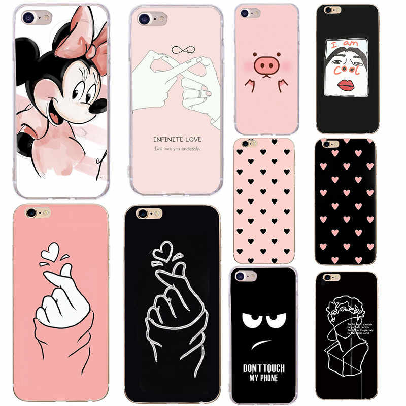 Soft TPU Phone Case Voor iPhone x Case Siliconen Minnie Eenvoudige Back Cover Voor iPhone 7 6 6S 8 plus 7Plus 8 Plus XS 5 5S SE Case