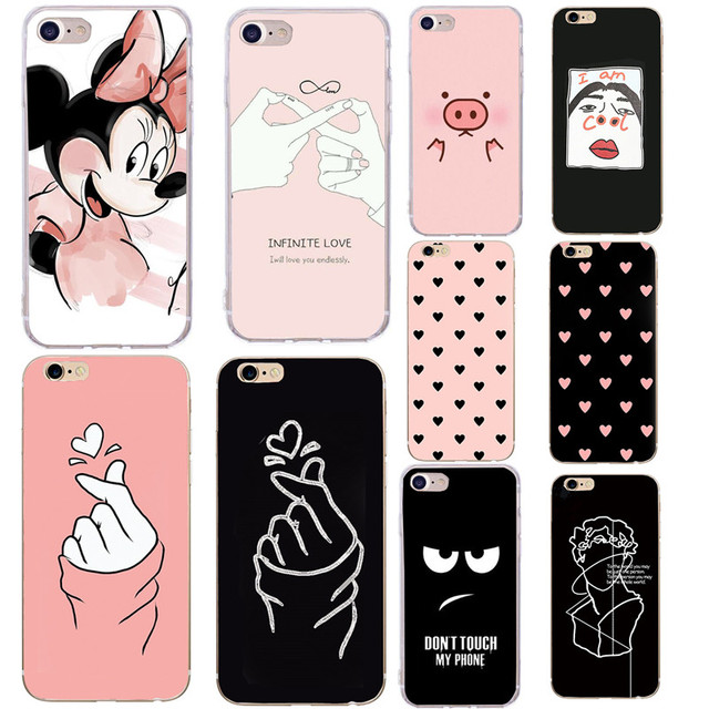 Soft TPU Phone Case For iPhone x Case Silicone Minnie Simple Back Cover For iPhone 7 6 6S 8 Plus 7Plus 8Plus XS 5 5S SE Case