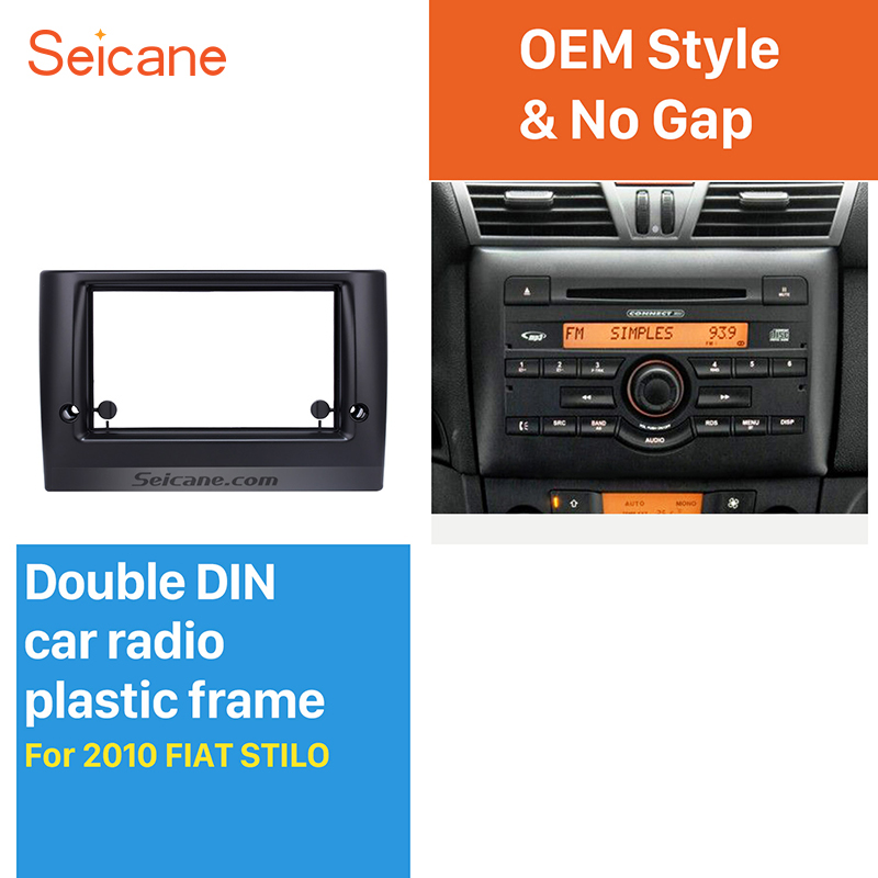 Seicane Stunning Double Din Car Radio Fascia for 2010 FIAT STILO DVD Frame In Dash Mount Kit Surround Panel seicane exquisite 202 102 double din car radio fascia for 2009 2013 toyota avensis dvd frame in dash mount kit trim bezel