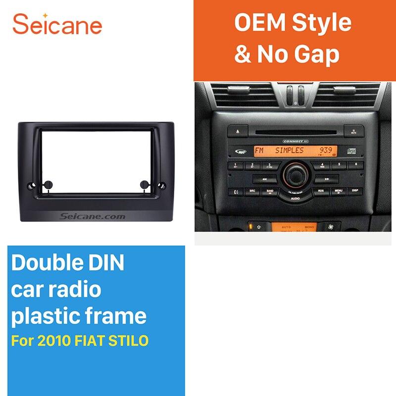 Seicane Superbe Double Din Autoradio Fascia pour 2010 FIAT STILO DVD Cadre En Dash Mount Kit Surround Panneau