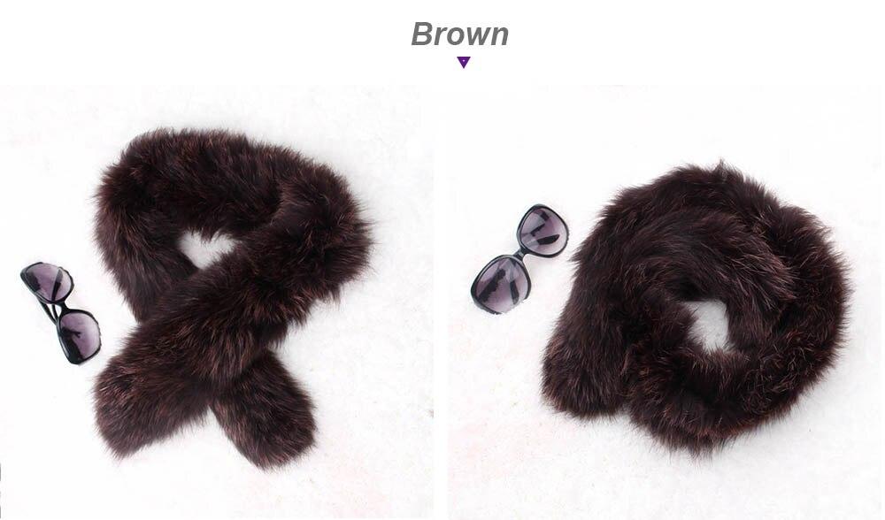 knit fox fur scarf color brown