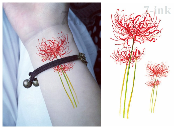 Water Transfer Fake Tattoo Red Spider Lily Flower Tatto Waterproof Temporary  Flash Tatoo For  Woman Gril 10.5*6cm