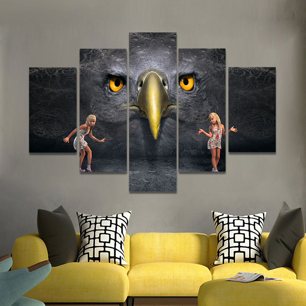 Unframed Canvas Painting Gothic Huge Owl Two Little Girls Picture Prints Wall Picture For Living Room Wall Art Decoration