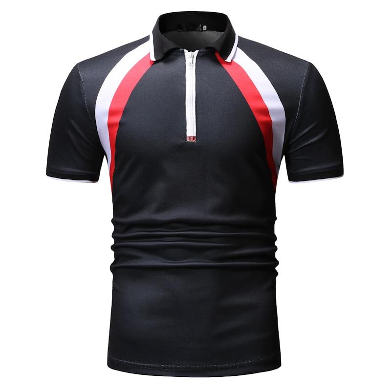 In Verarbeitung Diszipliniert Neue Kommen Polos Männer Patchwork Drehen-unten Kragen Slim Fit Polo Shirt Männer Casual Kurzarm Herren Polo Exquisite