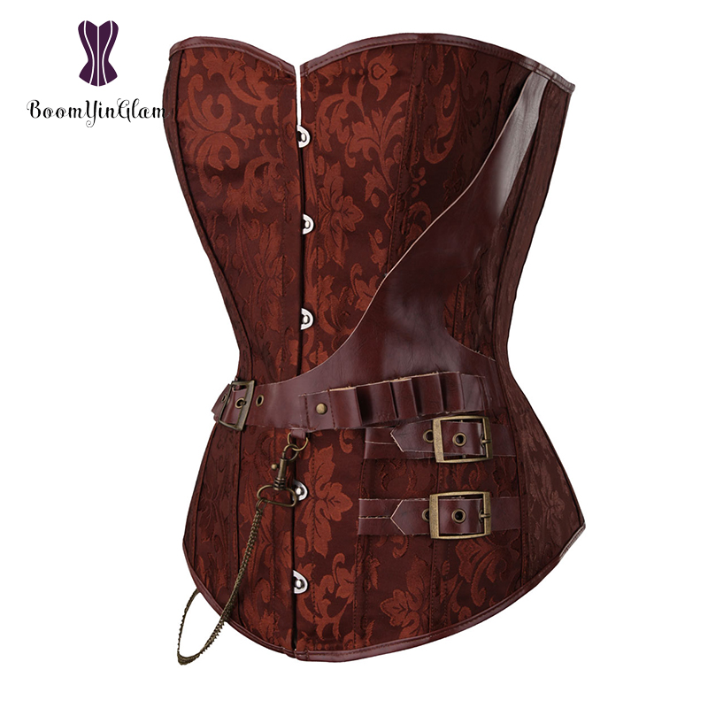 Black/Brown Women's Vintage Steampunk   Corsets     Bustiers   Steel Boned Overbust   Corset   Lingerie For Party S-6XL 907#