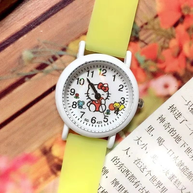 Sweet Glow-in-the-dark Silicone Band KT Cat Cartoon Kids Watch Girl Quartz Watch