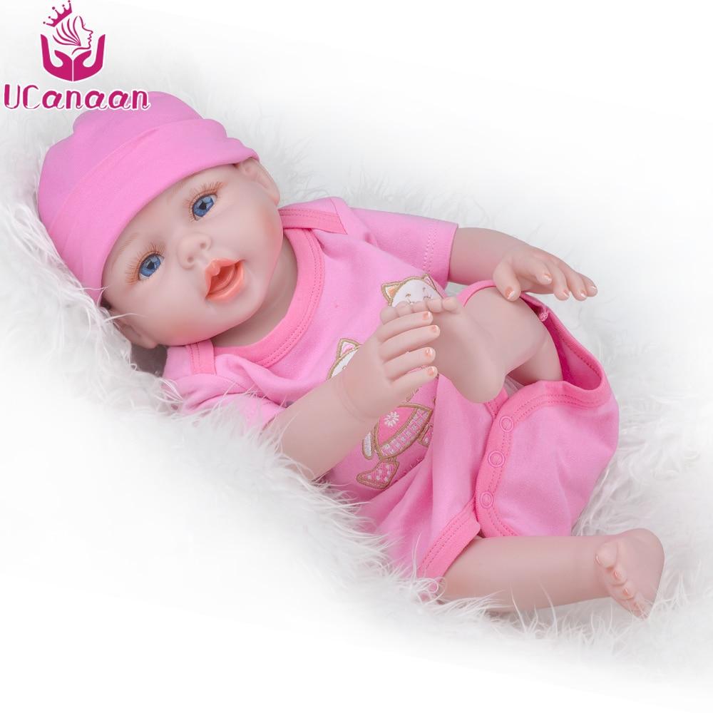 UCanaan 50CM Full Silicone Doll Reborn Blue & Brown Eyes Baby Alive Girl Dolls Kawaii Children Play House Toys Baby Born Bonecas kawaii baby dolls
