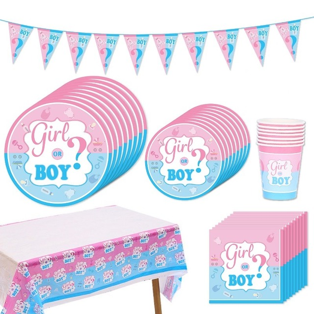 Geslacht Onthullen Party Decoratie Jongen of Meisje Banner Wegwerp Servies Baby Douche Latex Confetti Ballonnen Photo Prop Levert 8 1