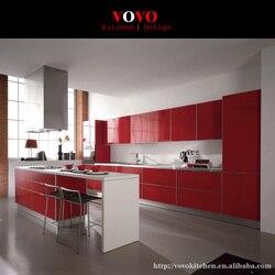 Высокий Глянец, красный встроенная кухня мебель с бар остров для завтрака