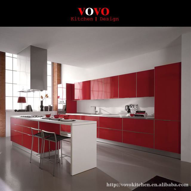 High Gloss Kitchen Island: High Gloss Red Integrated Kitchen Furniture With Bar