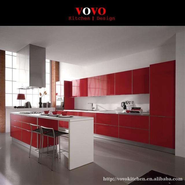 Meubles de cuisine intégrés rouge brillant avec îlot de bar pour le ...