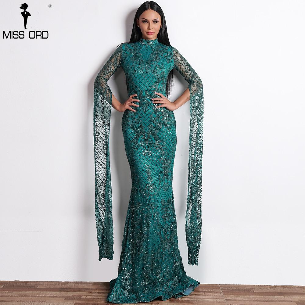 Missord 2020 Women Sexy  High Neck Long Sleeve Split Glitter Dresses Female Maxi Elegant  Party Dress Vestdios  FT9283-2