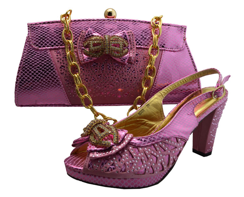 ФОТО Free Shipping!!Italian Shoes With Matching Bag High Quality For party wedding Italy Shoes And Bag For Evening  GF8003 pink