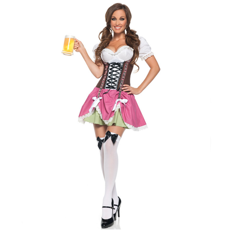 Traditional Women Carnaval Oktoberfest Beer Costume German Wench Maid Dirndl Fancy Dress Halloween Party Outdit