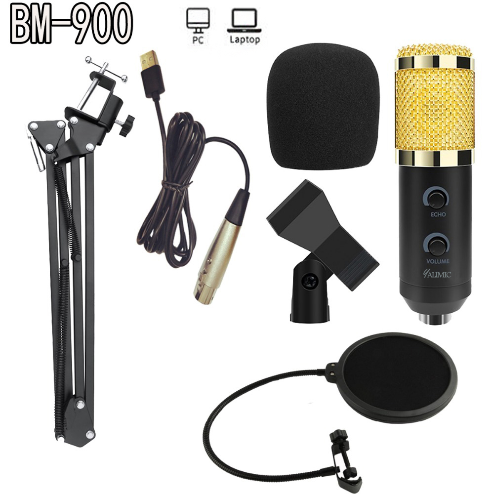 BM-900 Podcast Recording microphone with Stand Professional Condenser Studio Broadcasting Microphone title=