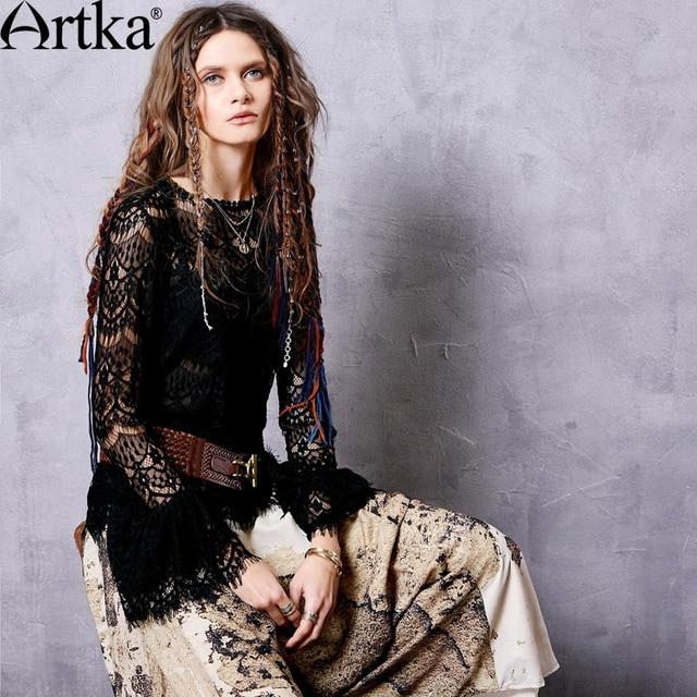 Artka Women's 2017 Autumn New Black Lace Chiffon Shirt Fashion O-Neck Butterfly Sleeve Ruffled Hem Slim Fit Shirt SA16053Q