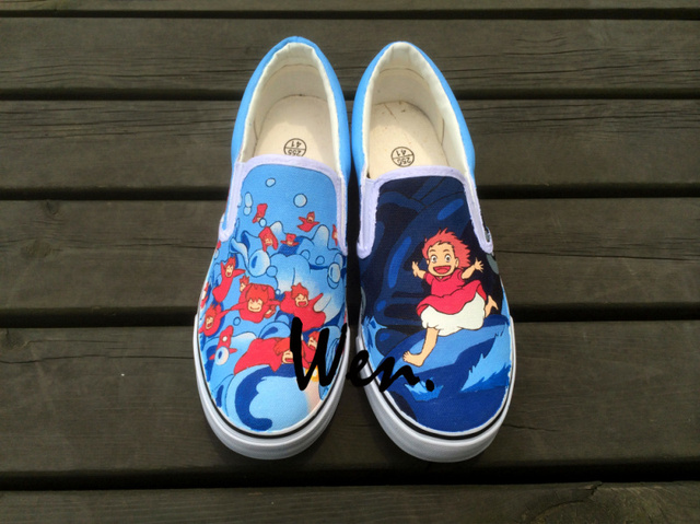 Wen Anime Ponyo Custom Design Hand Painted White Shoes Unisex Canvas  Sneakers Slip On Flats Shoes