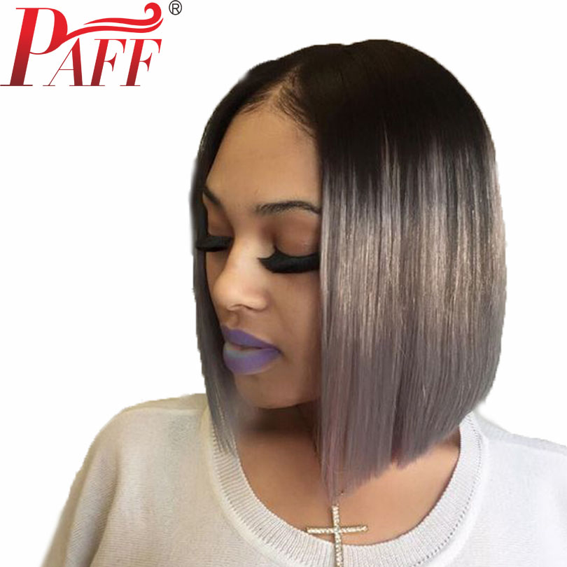 PAFF Ombre Gray Lace Front Human Hair Wig with Black Roots 130 Density Lace Frontal Short Bob Cut 13*3 Wig Brazilian Remy Hair-in Human Hair Lace Wigs from Hair Extensions & Wigs    1