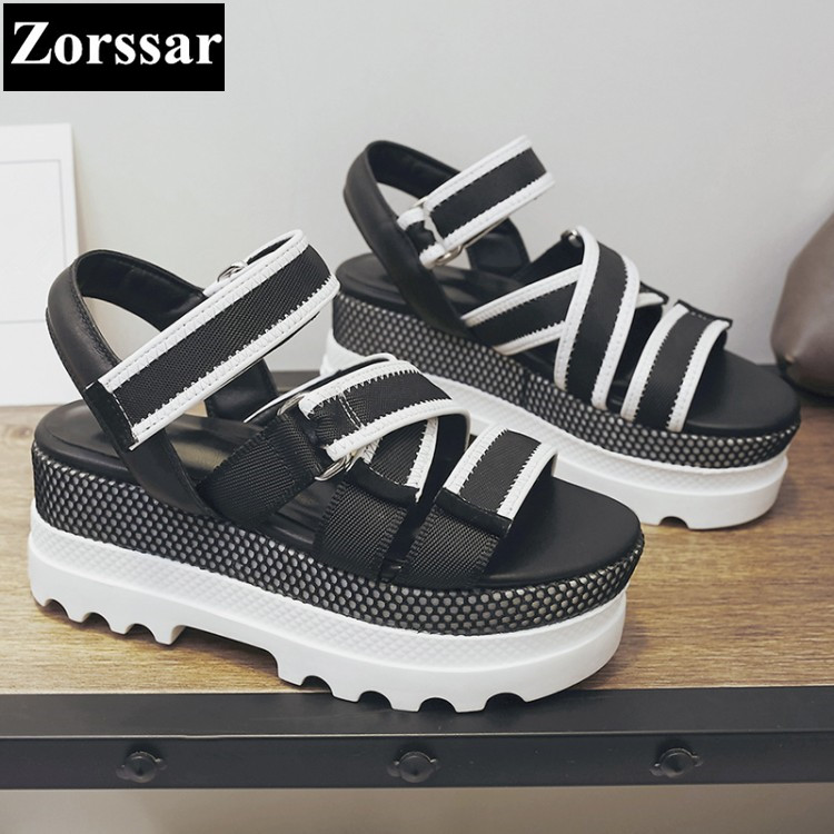 {Zorssar} Brand 2017 NEW Summer Genuine leather Casual Womens platform Sport sandals high heels peep Toe women slippers shoes zorssar brand 2017 high quality sexy summer womens sandals peep toe high heels ladies wedding party shoes plus size 34 43