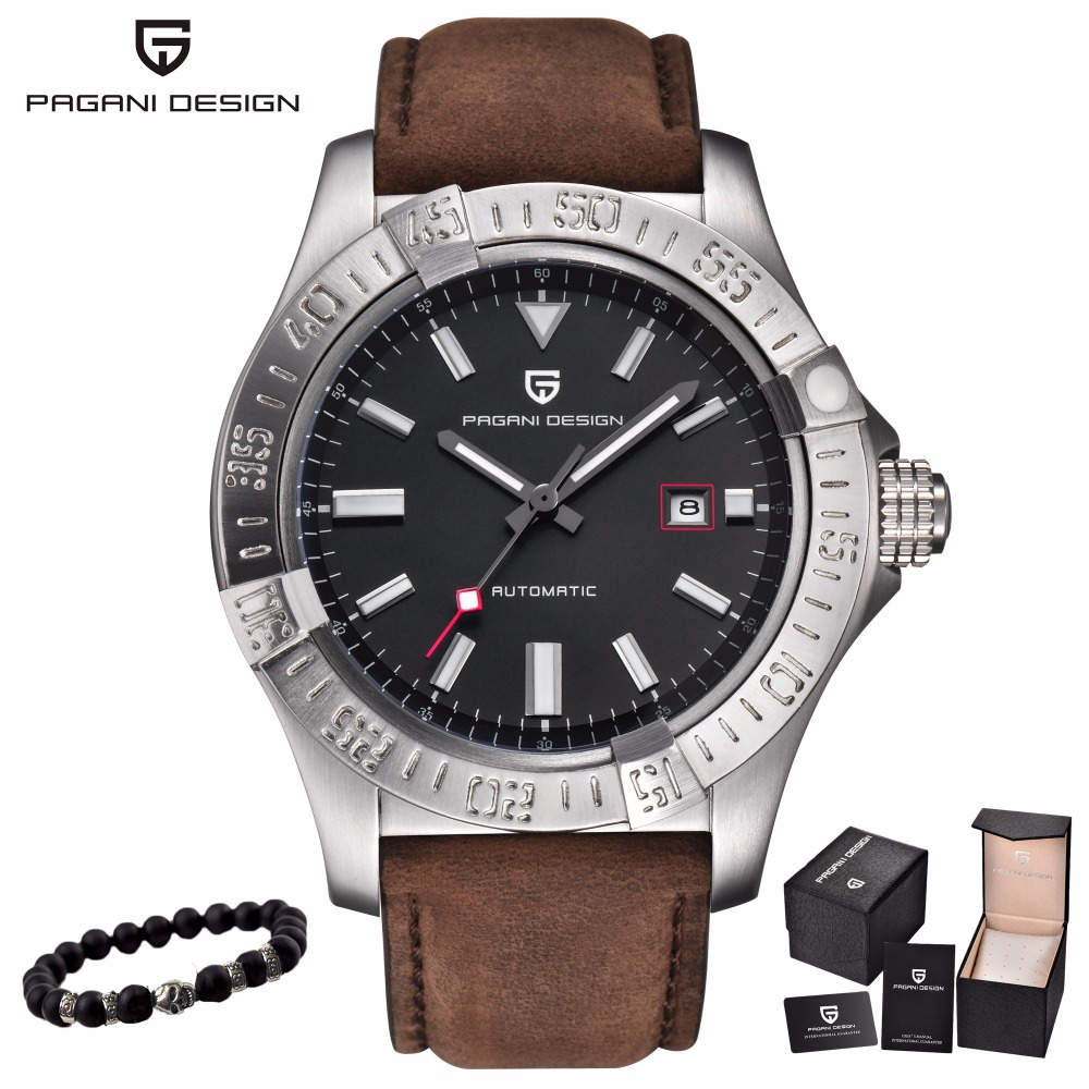 PAGANI DESIGN Men's Classic Mechanical Watch 30 m waterproof silicone strap Brand luxury stainless steel self-winding watches