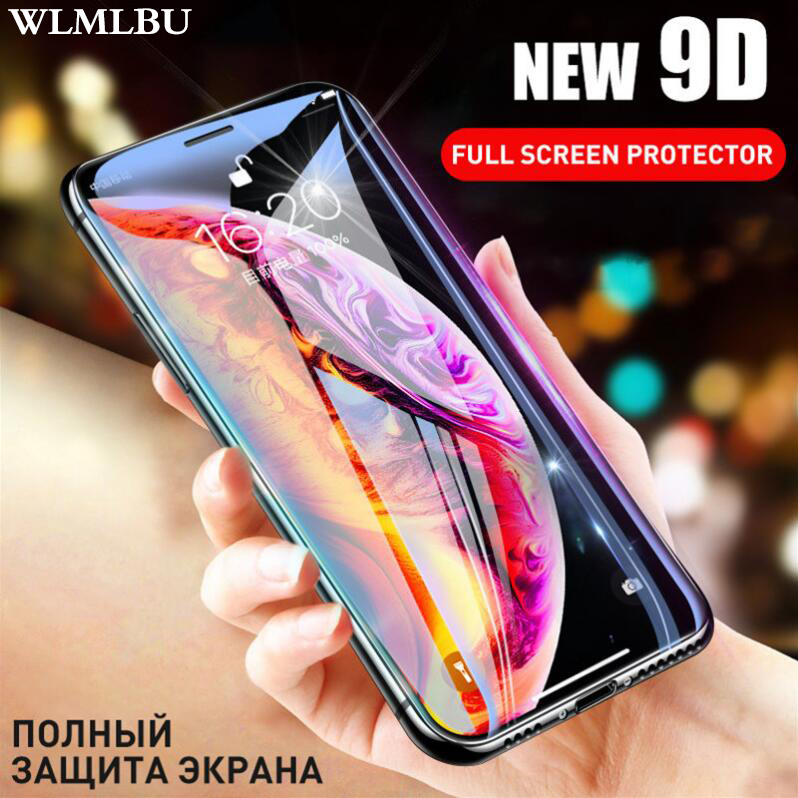 WLMLBU 9D Protective Glass for iPhone 7 Screen Protector iPhone 8 Xr Xs Xs Max Tempered Glass on iPhone X 6 6s 7 8 Plus Xs Glass