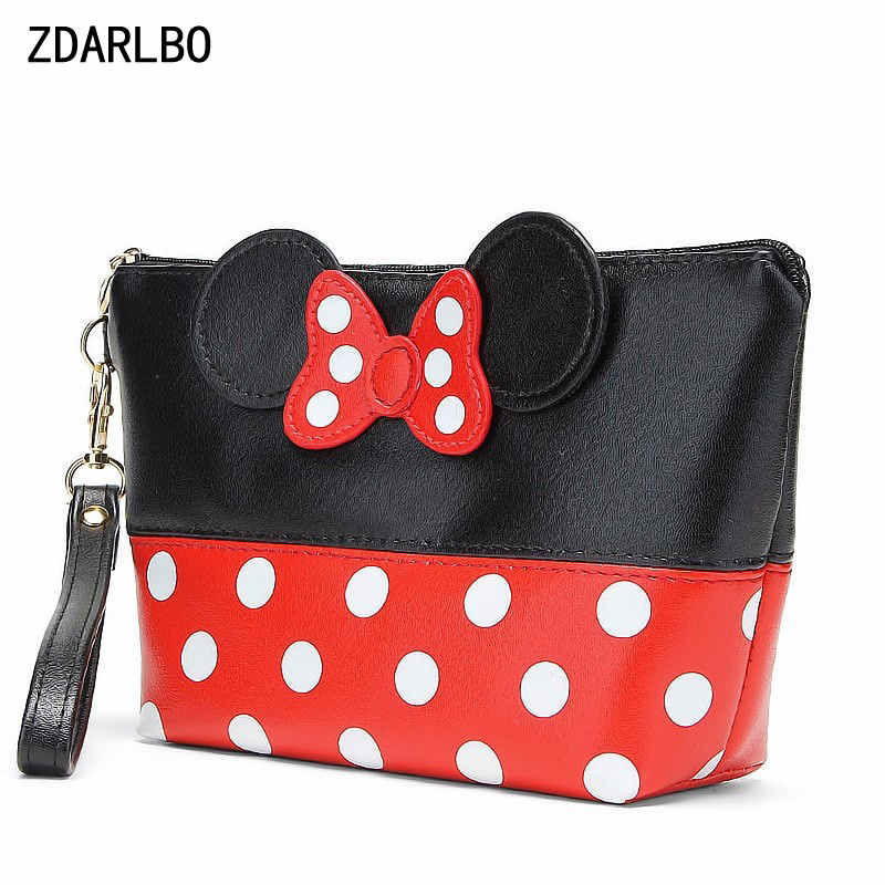 New Fashion Bow Minnie Mouse Clutch For Women PU Waterproof Travel Cosmetic Bag Organizer Make Up Bags High Quality Toiletry Bag