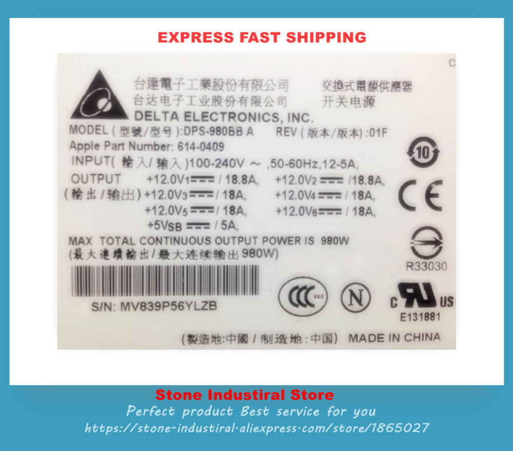 DPS-980BB A 614-0409 POWER 980W API6PCO1 614-0400 614-0407 661-4677 A1186 MA970 workstation power supply dps 980ab for server pro a1186 980w original 95%new well tested working one year warranty