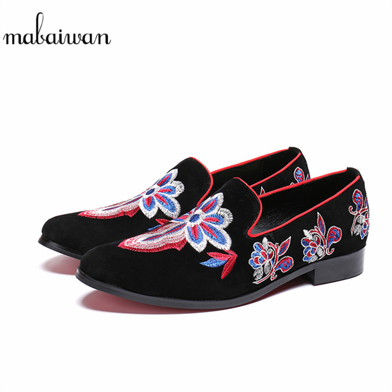 Mabaiwan New Design Casual Men Shoes Floral Embroidery Party Wedding Shoes Men Handmade Slippers Black Suede Prom Loafers Flats цена 2017