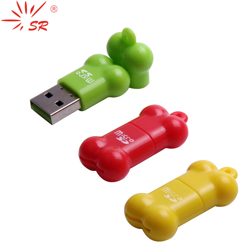 SR USB Card Reader Little Bone Shape MicroSD Card T-Flash Memory Card Up To 64GB 3 Colors