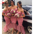 2017 Praia de Blush Pêssego Da Dama de Honra Vestidos Para Casamentos Fora Do Ombro Formal Bridesmaids Vestido Plus Size Júnior Prom vestido de Festa Vestidos