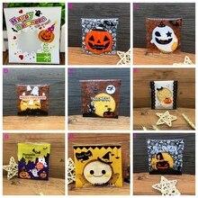 100 Stks/pak Mooie Halloween Cookie Snoep Brood Verpakking Zakken Multicolor Zelfklevende Plastic Cookie Candy Packaging Pouch Doos