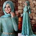 Robe de soirée nueva llegada a line musulmana de manga larga de encaje vestidos de noche de la turquesa árabe vestido evenning