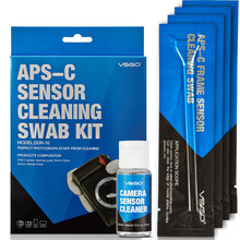 VSGO Skilled APS-C Digicam Lens/Sensor Cleansing Package With Liquid Sensor/Lens Cleaner/Resolution+Cleansing Swab For DSLR