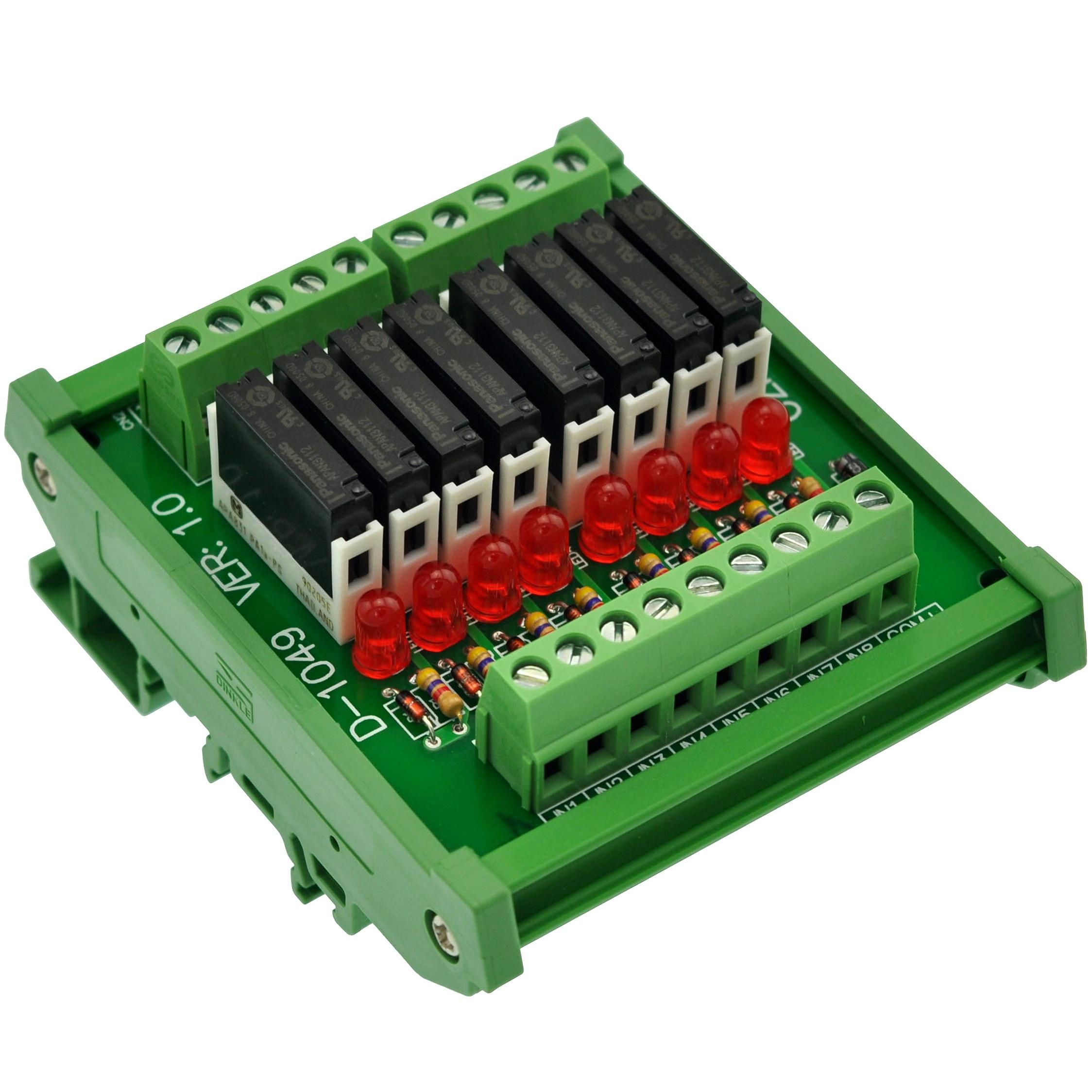 Slim DIN Rail Mount DC12V Sink/NPN 8 SPST NO 5A Power Relay Module, PA1a 12V