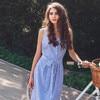 Blue Striped Bandage Dress 1