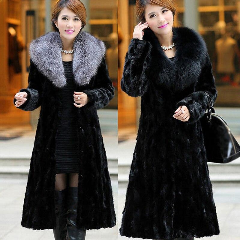 Col Vison Faux Manteau La gris Hiver 2017 H026 Renard Taille Fourrure Plus Femmes Mode 6xl De Noir En Imitation Survêtement 5xl Longue Fausse Femelle qOfwxnq7