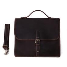Vintage Crazy horse Leather Men Bags Men's Briefcase Laptop Bag Handbag 8902