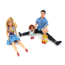 4Pcs Set Dolls Family Happy Family Pack Removable Joints Ken Prince Baby Doll Boyfriend Toy Xmas