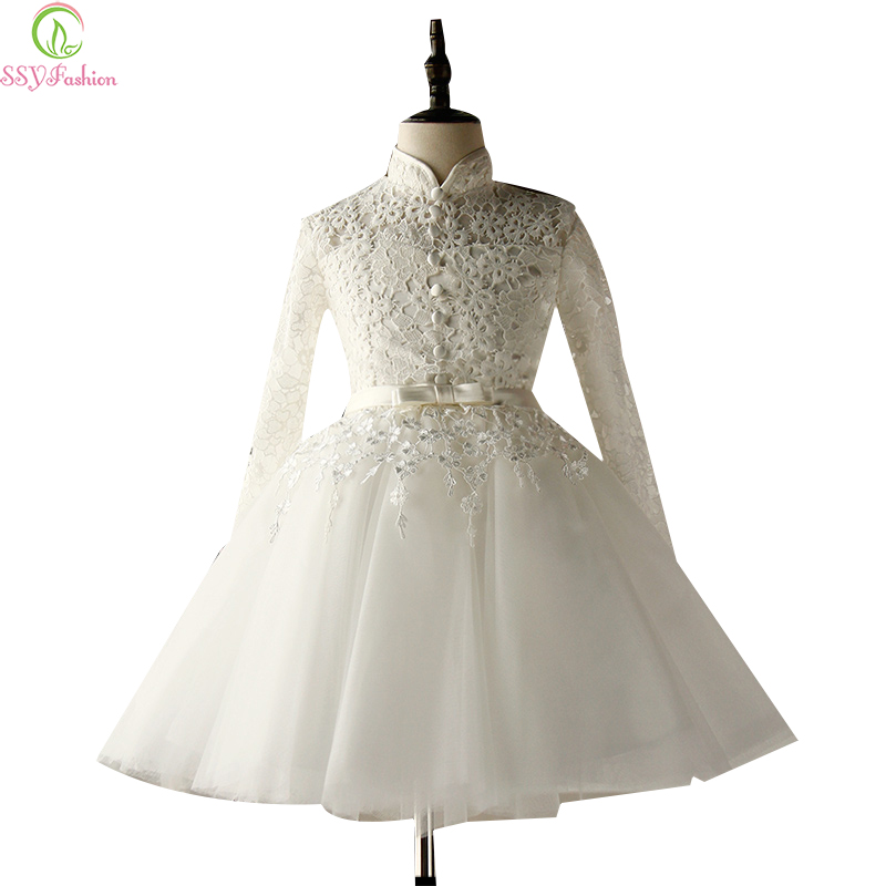 Ssyfashion winter white lace long sleeved flower girl