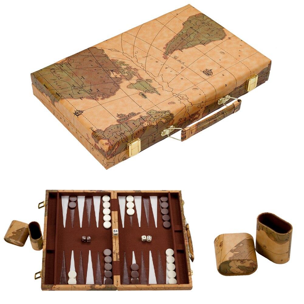 15 pulgadas gran PU negro Backgammon viaje juguetes Gran Lujo plegable Portable delicado textura moda diseño del mapa del mundo