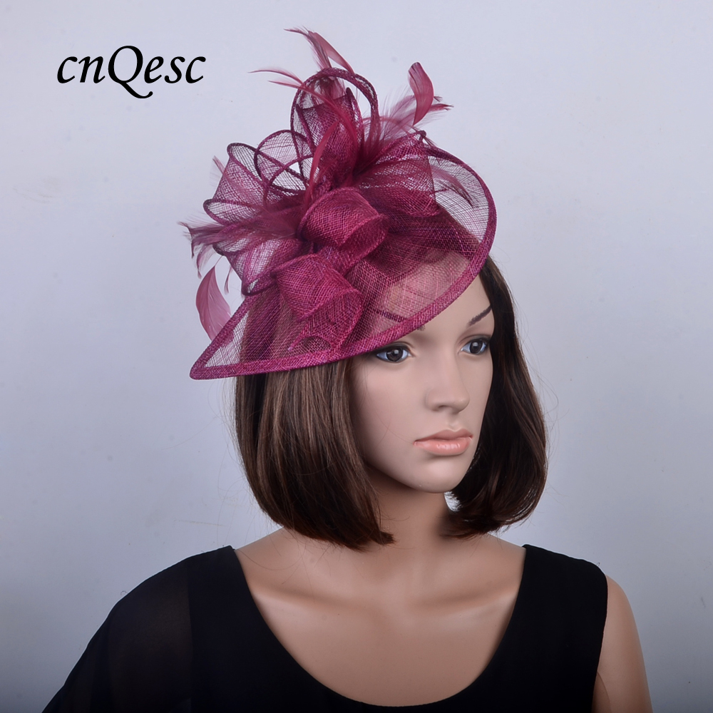Detail Feedback Questions about NEW Burgundy wine HOT Sinamay Fascinator Hat  bridal accessories for Wedding 2b24ca5bfe0