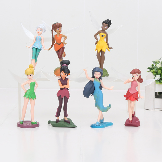 7 pçs set Tinker Bell PVC figura brinquedos Funileiro e Fada Zarina Pirata  Rosetta Ondas d7aa59b52c9