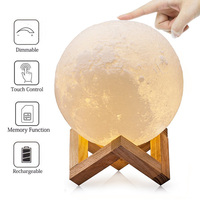 4.7 Inch 3D Print Moon Lamp With Wooden Dock Touch Switch Dimmable Color Changing Night Light Kids Gift Home Bedroom Decor Light