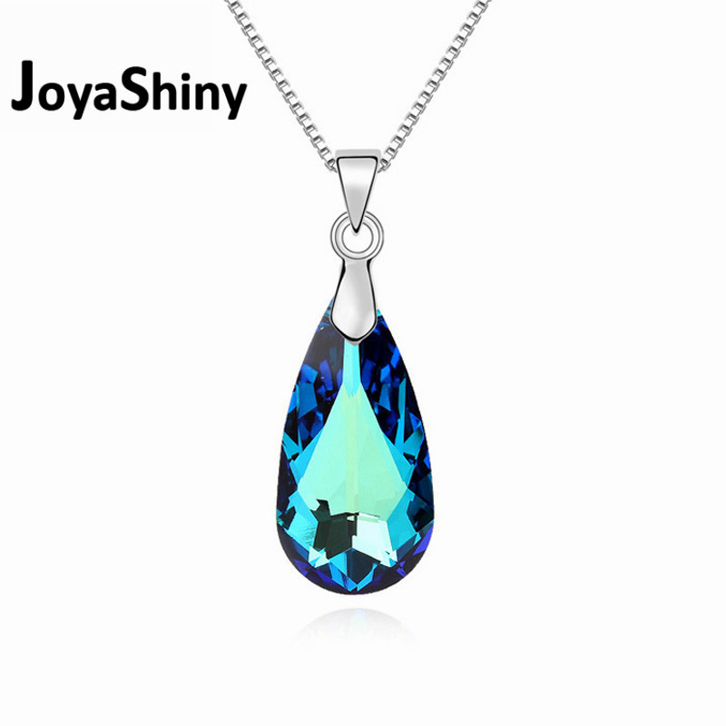 Joyashiny MADE WITH Swarovski ELEMENTS Crystal Blue Water Drop Pendant Necklace Joyas Mother's Day Gifts