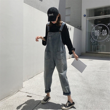 Womens washed Retro denim overalls Harajuku style hole light blue wild waist loose jeans trousers street hipsters Hip hop