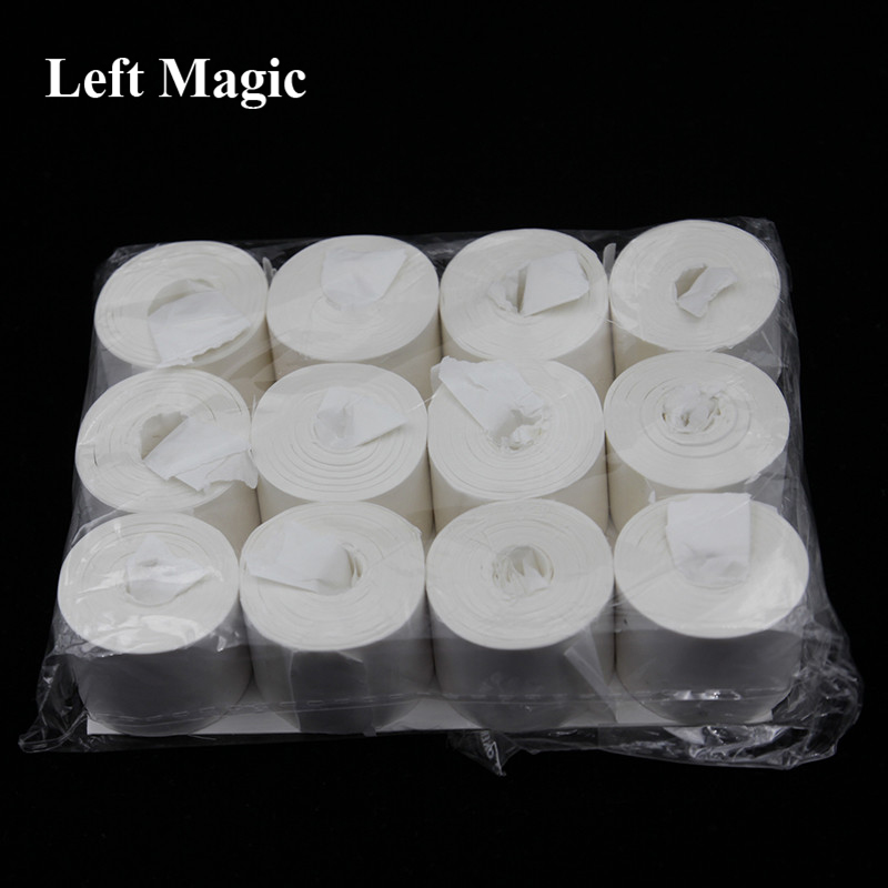 Mouth Coil Paper (White) 12 Pcs/Pack 19 Meters Top-Quality Vomit Paper Magic Tricks Close Up Street Magician Magia Accessories
