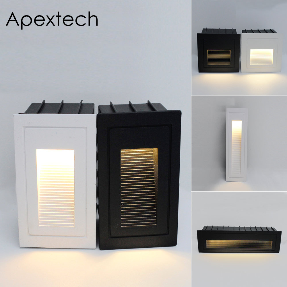 Apextech Outdoor Wall Lamp LED Step Lights Embedded Deck Pathway Yard Stair Light Recessed Corridor Wall Lamp White Black|LED Outdoor Wall Lamps| |  - title=