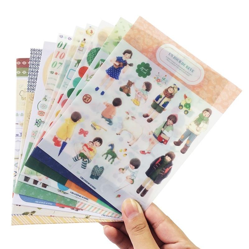 9 Sheets/set Cute Memo Pad DIY PVC&Paper Stationery Sticker Dairy Planner Stickers School Supplies Multi Design Scrapbooking