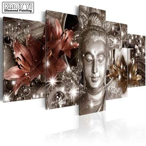 Image 3 - full square drill Diamond embroidery Lily Buddha statue 5D DIY diamond painting Cross Stitch Multi picture home decoration